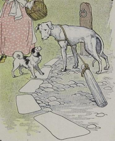 An illustration for the story The Mischievous Dog by the author Aesop