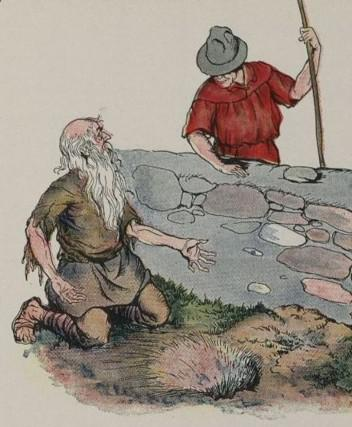An illustration for the story The Miser by the author Aesop