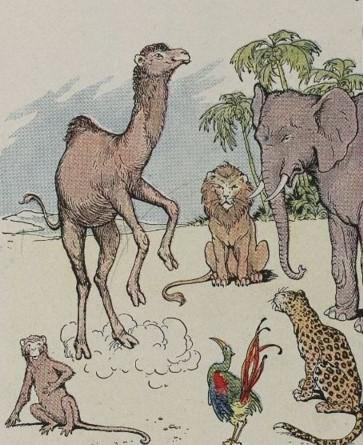 An illustration for the story The Monkey And The Camel by the author Aesop