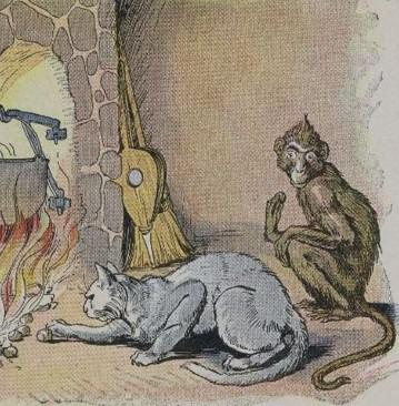 An illustration for the story The Monkey And The Cat by the author Aesop