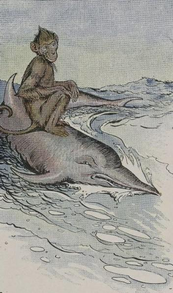 An illustration for the story The Monkey And The Dolphin by the author Aesop