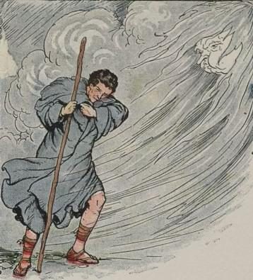 An illustration for the story The North Wind And The Sun by the author Aesop