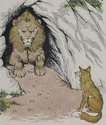 An illustration for the story The Old Lion And The Fox by the author Aesop