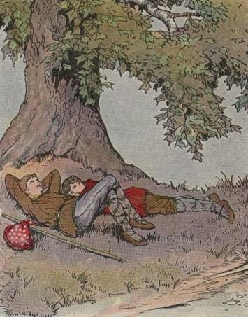 An illustration for the story The Plane Tree by the author Aesop