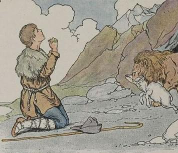 An illustration for the story The Shepherd And The Lion by the author Aesop