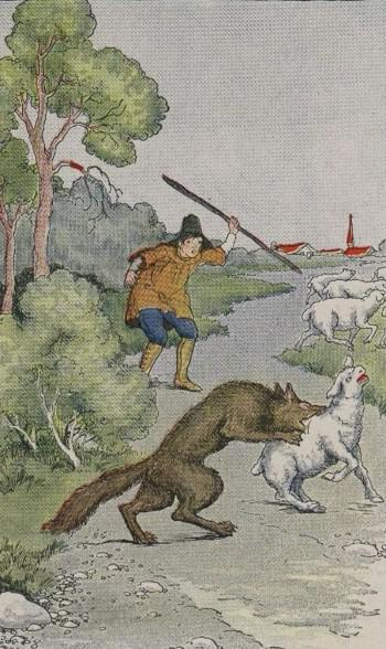 An illustration for the story The Shepherd Boy And The Wolf by the author Aesop