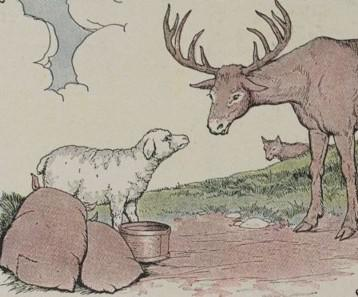 An illustration for the story The Stag The Sheep And The Wolf by the author Aesop