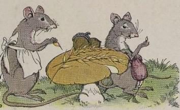 An illustration for the story The Town Mouse And The Country Mouse by the author Aesop