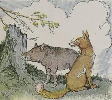 An illustration for the story The Wild Boar And The Fox by the author Aesop