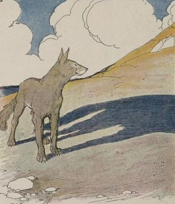 An illustration for the story The Wolf And His Shadow by the author Aesop