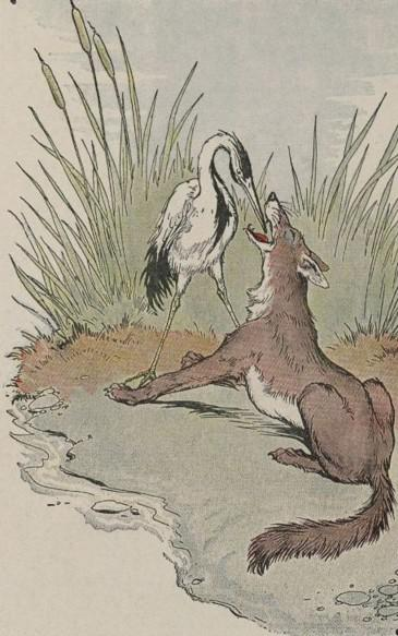 An illustration for the story The Wolf And The Crane by the author Aesop