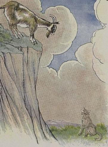An illustration for the story The Wolf And The Goat by the author Aesop