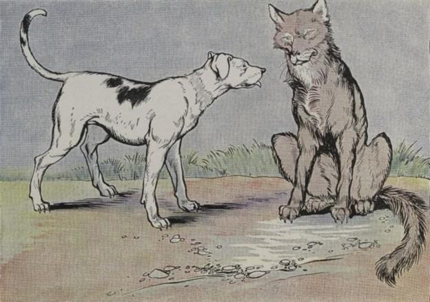 An illustration for the story The Wolf And The House Dog by the author Aesop
