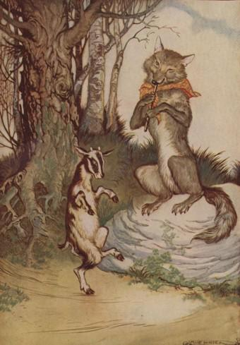 An illustration for the story The Wolf And The Kid by the author Aesop
