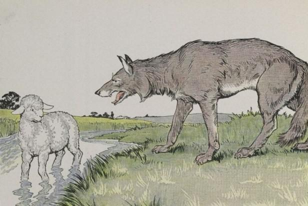 An illustration for the story The Wolf And The Lamb by the author Aesop