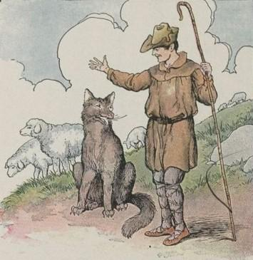 An illustration for the story The Wolf And The Shepherd (2nd Fable) by the author Aesop