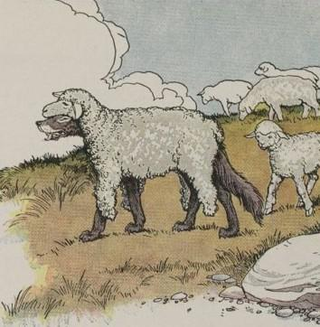 English Language Learners Idioms & Stories: Aesop's 'wolf in sheep's clothing' pictured