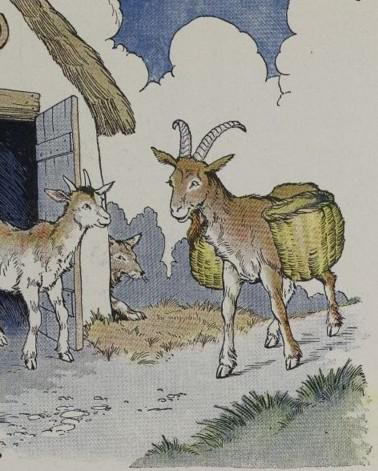 An illustration for the story The Wolf The Kid And The Goat by the author Aesop