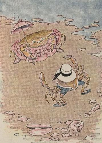 An illustration for the story The Young Crab And His Mother by the author Aesop