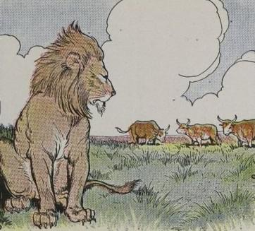 An illustration for the story Three Bullocks And A Lion by the author Aesop