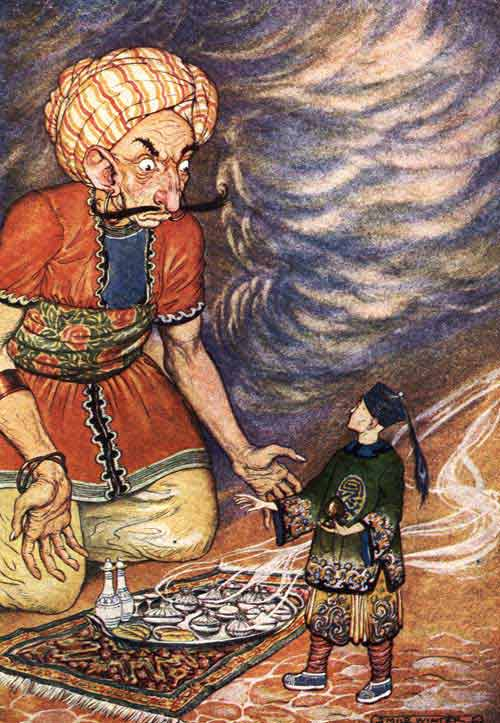 An illustration for the story The Story of Aladdin; or, The Wonderful Lamp by the author Arabian Nights
