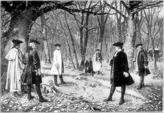 An illustration for the story Alexander Hamilton's Duel with Aaron Burr by the author Alexander Hamilton