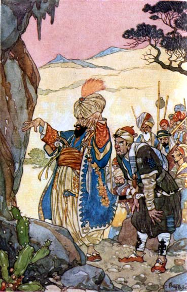 An illustration for the story Ali Baba and the Forty Thieves by the author Arabian Nights