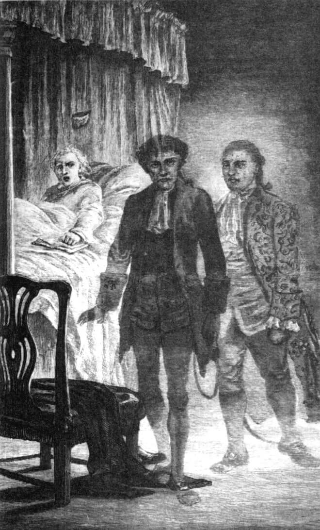 An illustration for the story An Account of Some Strange Disturbances in Aungier Street by the author Joseph Sheridan Le Fanu