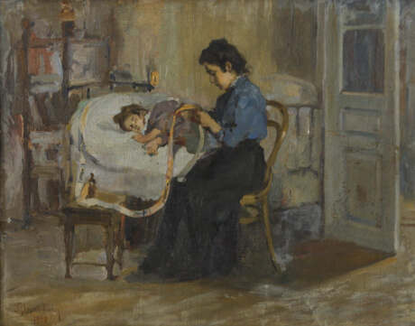 Hmayak Artsatpanyan, Mother with sick child, 1900