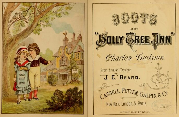 An illustration for the story Boots at the Holly-Tree Inn by the author Charles Dickens