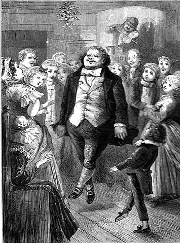 An illustration for the story Christmas at Fezziwig's Warehouse by the author Charles Dickens