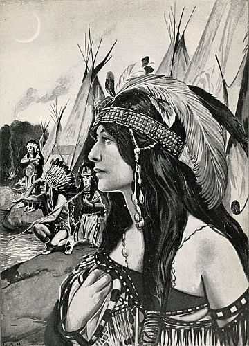 An illustration for the story Cofachiqui: An Indian Princess of Historic Legend by the author Kate Dickinson Sweetser