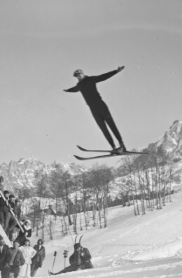 Criss-Crossed Skis, Ski jump, Olympics, 1924