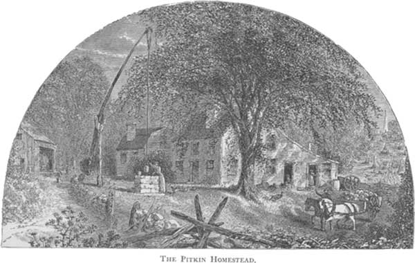 An illustration for the story Deacon Pitkin's Farm by the author Harriet Beecher Stowe
