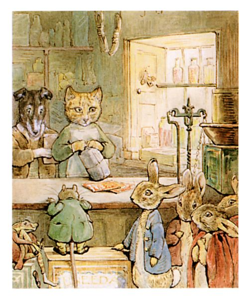 An illustration for the story The Tale of Ginger and Pickles by the author Beatrix Potter