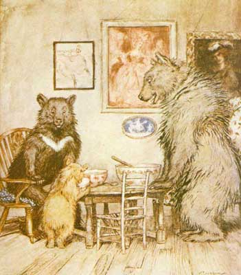 An illustration for the story Goldilocks and the Three Bears by the author