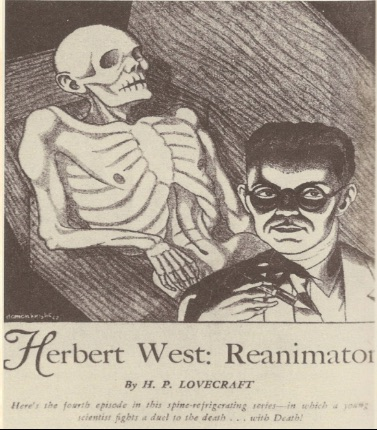 An illustration for the story Herbert West: Reanimator by the author H. P. Lovecraft