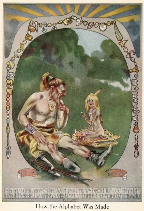 An illustration for the story How the Alphabet Was Made by the author Rudyard Kipling