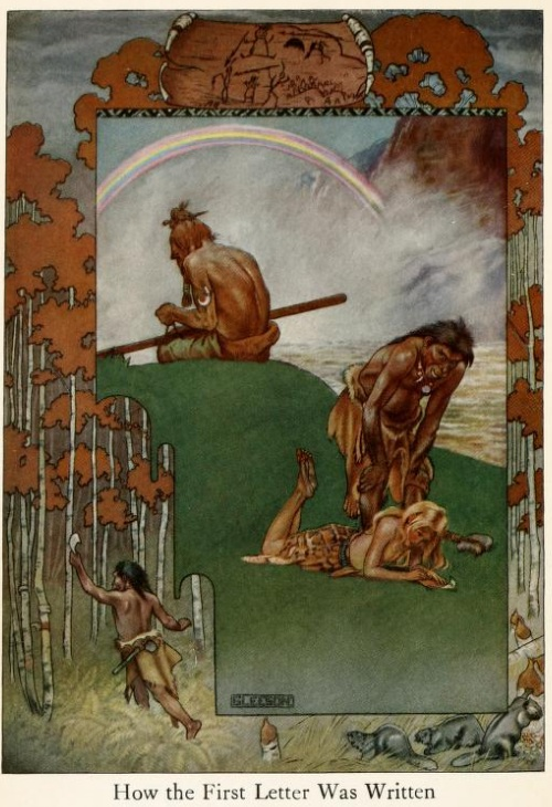 An illustration for the story How the First Letter Was Written by the author Rudyard Kipling