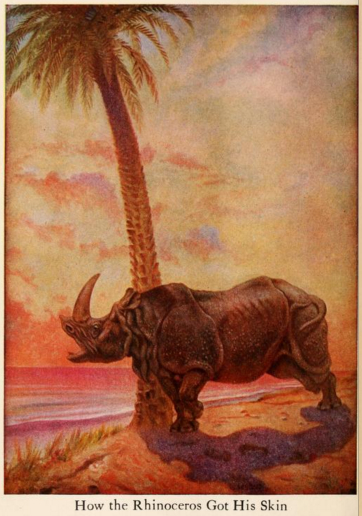 An illustration for the story How the Rhinoceros Got His Skin by the author Rudyard Kipling