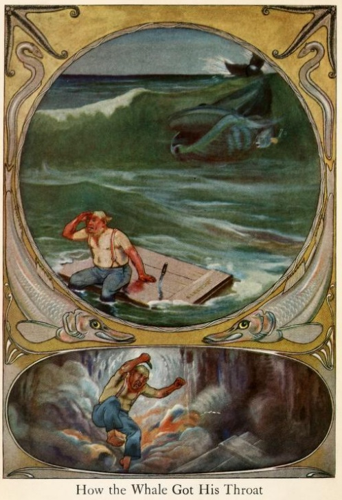 An illustration for the story How the Whale Got His Throat by the author Rudyard Kipling