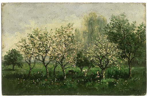 An illustration for the story In the Orchard by the author Virginia Woolf