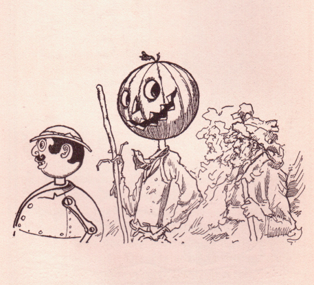 An illustration for the story Jack Pumpkinhead and the Sawhorse by the author L. Frank Baum