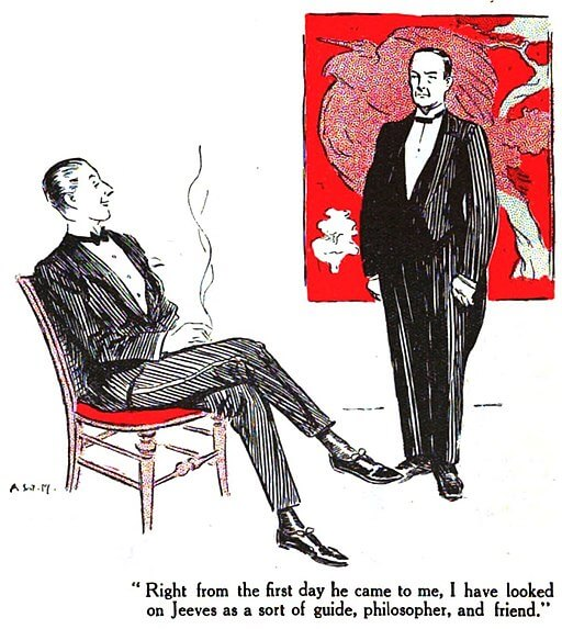 An illustration for the story Jeeves in the Springtime by the author P. G. Wodehouse