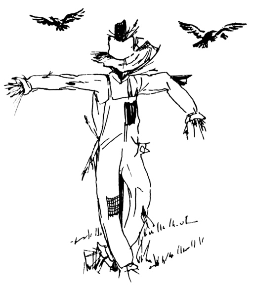 Image result for sad scarecrow with crows