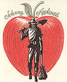 An illustration for the story Johnny Appleseed by the author William D'Arcy Haley