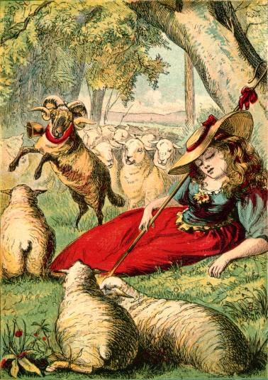An illustration for the story Little Bo-Peep by the author Joseph Martin Kronheim