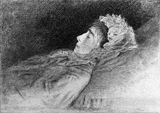 An illustration for the story A Dead Woman's Secret by the author Guy de Maupassant