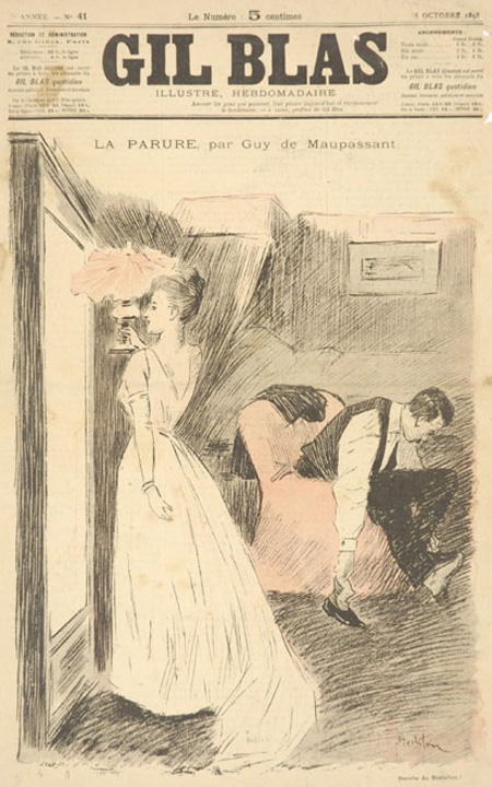An illustration for the story The Diamond Necklace by the author Guy de Maupassant