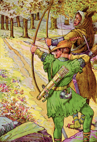 An illustration for the story A Story of Robin Hood by the author James Baldwin